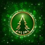 Kerstboom op groene achtergrond stock illustratie