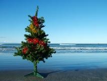 Kerstboom op het strand   Stock Foto's