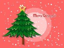 Kerstboom op kleurenachtergrond Gelukkig Nieuwjaar Royalty-vrije Stock Foto's