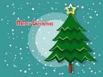 Kerstboom op kleurenachtergrond Gelukkig Nieuwjaar Stock Afbeeldingen