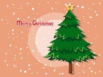 Kerstboom op kleurenachtergrond Gelukkig Nieuwjaar Royalty-vrije Stock Afbeeldingen