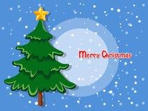 Kerstboom op kleurenachtergrond Gelukkig Nieuwjaar en decorativ Royalty-vrije Stock Foto
