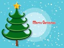Kerstboom op kleurenachtergrond Gelukkig Nieuwjaar en decorativ Royalty-vrije Stock Fotografie