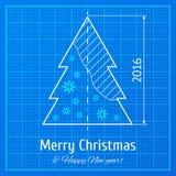 Kerstboom op millimeterpapier Stock Foto