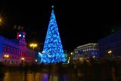 Kerstboom op Puerta del Sol, Madrid, Spanje stock foto