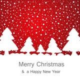 Kerstboom op rode achtergrond Stock Foto