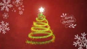 Kerstboom op rode achtergrond Stock Afbeelding