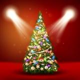 Kerstboom op rode achtergrond Eps 10 Stock Afbeelding