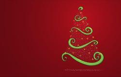 Kerstboom op rood Stock Afbeelding