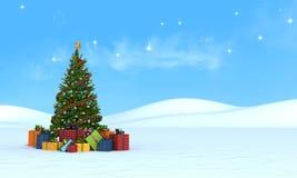 Kerstboom op sneeuw die - teruggeeft Royalty-vrije Stock Afbeeldingen
