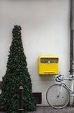 Kerstboom op stoep Stock Fotografie