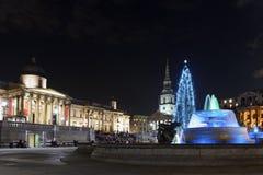 Kerstboom op Trafalgar Vierkant, Londen Royalty-vrije Stock Foto