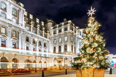 Kerstboom op Waterloo plaats in 2016, Londen Stock Foto's