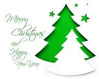 Kerstboom op wit Stock Afbeelding
