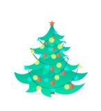 Kerstboom op witte achtergrond Vector illustratie Stock Foto's