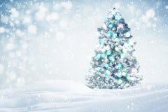 Kerstboom in openlucht achtergrond Royalty-vrije Stock Afbeeldingen