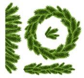 Kerstboom realistische decoratie geplaatst vectorvector Stock Foto's