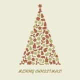 Kerstboom in retro stijl Stock Afbeeldingen