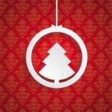 Kerstboom Ring Red Background Ornaments Royalty-vrije Stock Afbeeldingen
