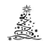 Kerstboom, schets, krabbel, vectorillustratie Stock Foto's