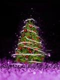 Kerstboom van de Kerstmislichten (spel met het licht) stock foto