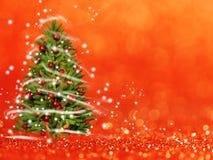 Kerstboom van de Kerstmislichten (spel met het licht) De achtergrond van Bokeh Stock Afbeeldingen