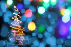 Kerstboom van de kleurenlichten Stock Fotografie
