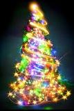 Kerstboom van de kleurenlichten Stock Afbeeldingen