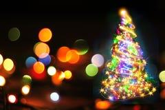 Kerstboom van de kleurenlichten Stock Foto's