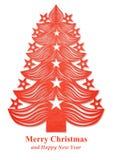 Kerstboom van document wordt gemaakt - rood dat Royalty-vrije Stock Foto