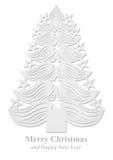 Kerstboom van document wordt gemaakt - wit dat Royalty-vrije Stock Afbeeldingen