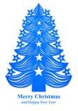 Kerstboom van donkerblauw die document wordt gemaakt - Royalty-vrije Stock Foto's