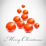 Kerstboom van Kerstmis rode bal Stock Afbeelding