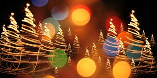 Kerstboom van kleurenlichten Stock Fotografie