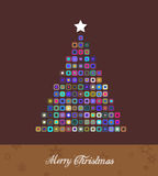 Kerstboom van kleurrijke punten. Stock Fotografie