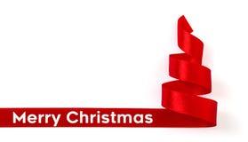 Kerstboom van rode geïsoleerde lintband stock afbeelding