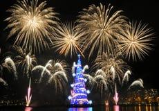 Kerstboom van Rodrigo de Freitas Lagoon Royalty-vrije Stock Afbeeldingen