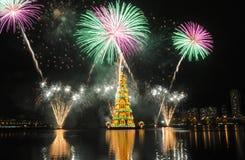 Kerstboom van Rodrigo de Freitas Lagoon Stock Fotografie