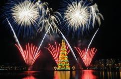 Kerstboom van Rodrigo de Freitas Lagoon Stock Afbeelding