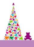 Kerstboom van teddyberen stock afbeeldingen