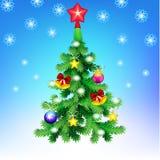 Kerstboom, vector Feestelijke kaart Stock Afbeeldingen