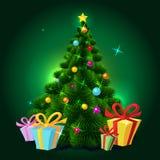 Kerstboom - vectorillustratie Stock Afbeelding