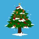 Kerstboom voor jongens Stock Foto's