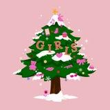 Kerstboom voor meisjes Royalty-vrije Stock Foto