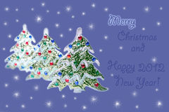 Kerstboom, Vrolijke Kerstmis en Gelukkig Nieuw jaar Royalty-vrije Stock Foto's