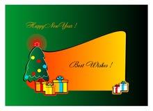 Kerstboom, vrolijke Kerstmis, gelukkig nieuw jaar, beste wensen, achtergrond, context, helder, vector, illustratie, kaart, prentb stock illustratie