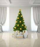Kerstboom winh gouden decor in klassieke 3D renderin van de stijlruimte Stock Foto