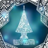Kerstboom in zen-Krabbel stijl op onduidelijk beeldachtergrond in blauw Stock Foto's