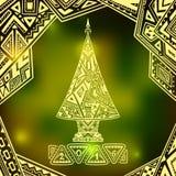Kerstboom in zen-Krabbel stijl op onduidelijk beeldachtergrond in groen Stock Foto