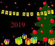 Kerstboom, zwarte donkere achtergrond van het giften de nieuwe jaar 2019 royalty-vrije illustratie